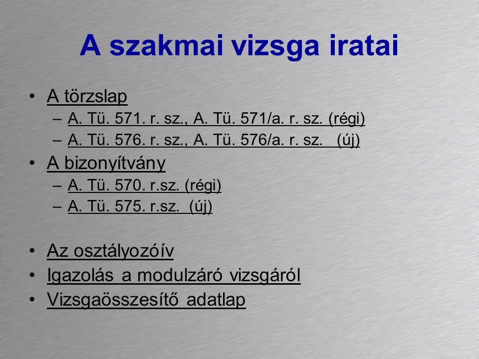 A szakmai vizsga iratai A törzslap –A. Tü. 571. r. sz., A. Tü. 571/a. r. sz. (régi) –A. Tü. 576. r. sz., A. Tü. 576/a. r. sz. (új) A bizonyítvány –A.