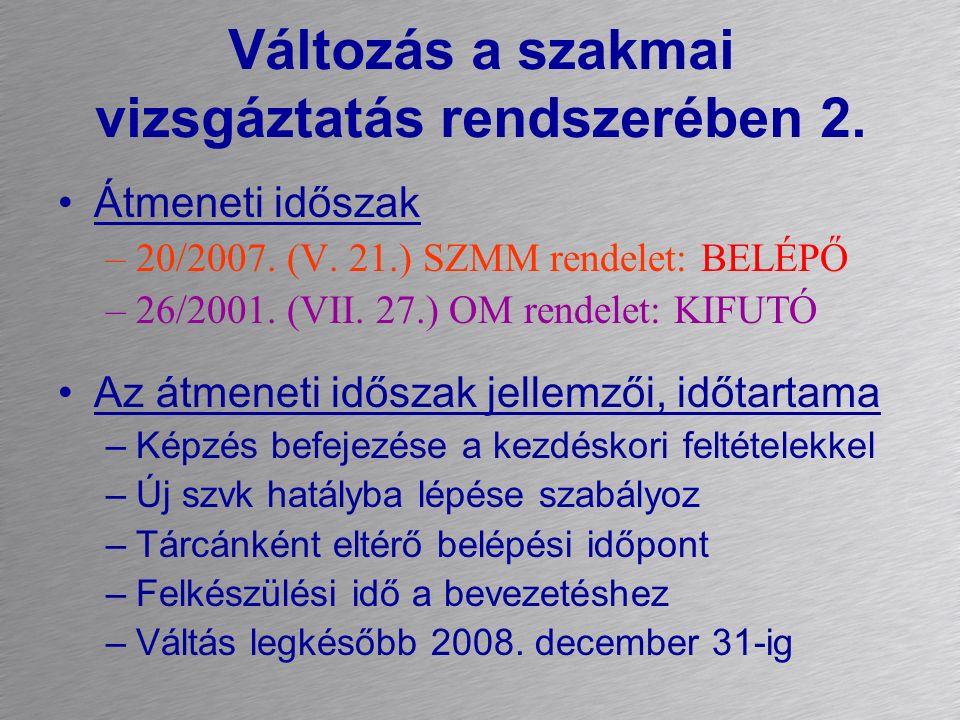 Változás a szakmai vizsgáztatás rendszerében 2. Átmeneti időszak –20/2007. (V. 21.) SZMM rendelet: BELÉPŐ –26/2001. (VII. 27.) OM rendelet: KIFUTÓ Az