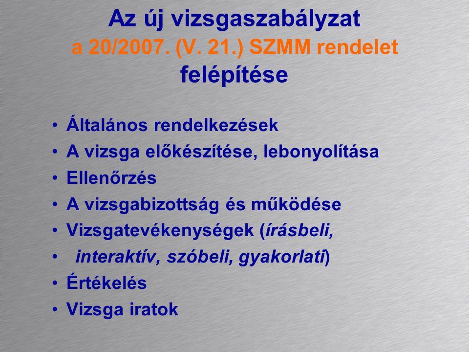 Az új vizsgaszabályzat a 20/2007. (V.