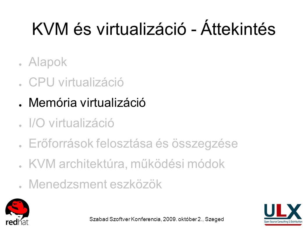 Szabad Szoftver Konferencia, 2009. október 2., Szeged KVM és virtualizáció - Áttekintés ● Alapok ● CPU virtualizáció ● Memória virtualizáció ● I/O vir