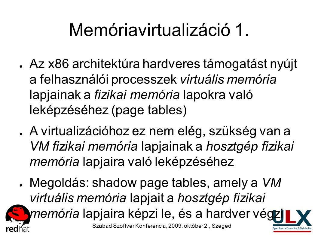 Szabad Szoftver Konferencia, 2009. október 2., Szeged Memóriavirtualizáció 1. ● Az x86 architektúra hardveres támogatást nyújt a felhasználói processz