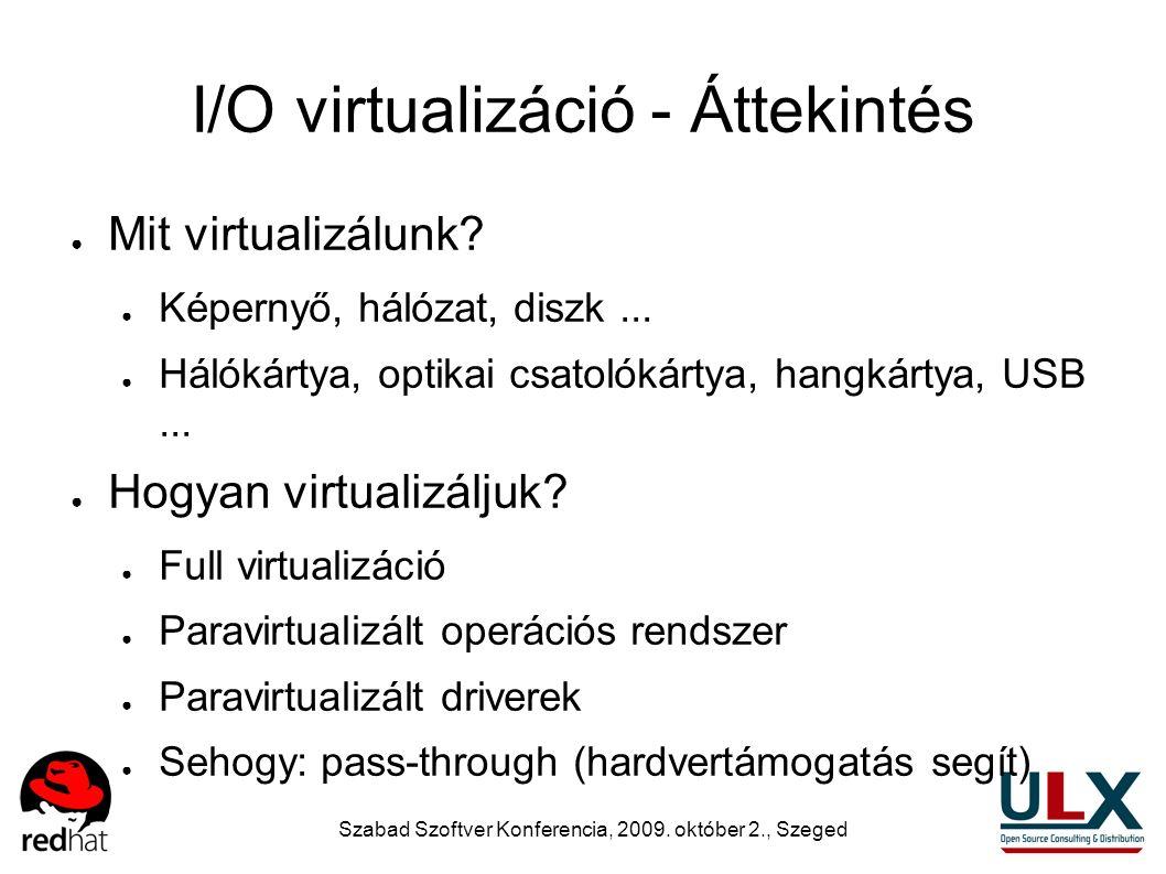 Szabad Szoftver Konferencia, 2009. október 2., Szeged I/O virtualizáció - Áttekintés ● Mit virtualizálunk? ● Képernyő, hálózat, diszk... ● Hálókártya,