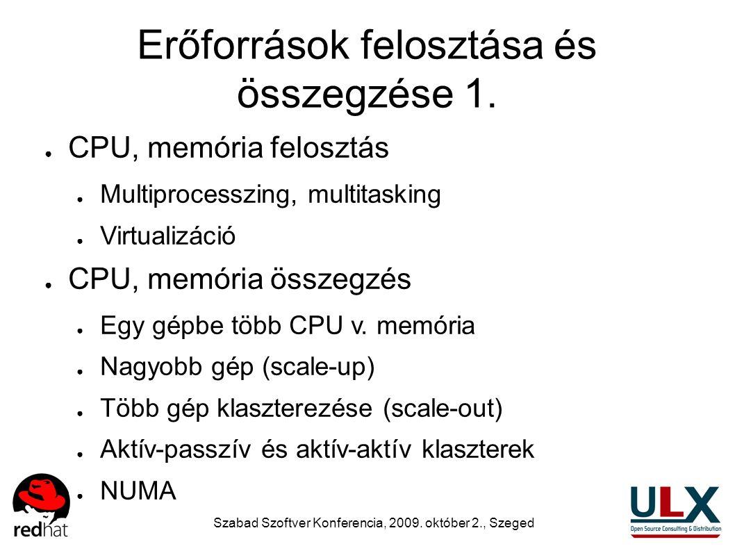 Szabad Szoftver Konferencia, 2009. október 2., Szeged Erőforrások felosztása és összegzése 1. ● CPU, memória felosztás ● Multiprocesszing, multitaskin