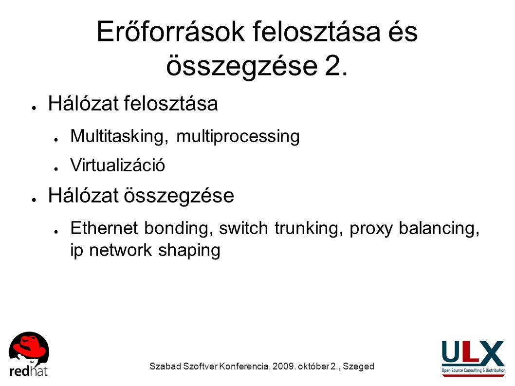 Szabad Szoftver Konferencia, 2009. október 2., Szeged Erőforrások felosztása és összegzése 2. ● Hálózat felosztása ● Multitasking, multiprocessing ● V