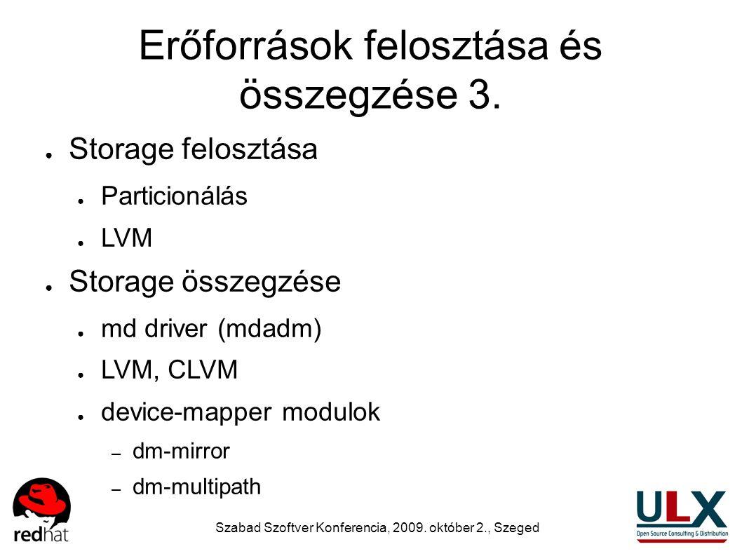 Szabad Szoftver Konferencia, 2009. október 2., Szeged Erőforrások felosztása és összegzése 3. ● Storage felosztása ● Particionálás ● LVM ● Storage öss