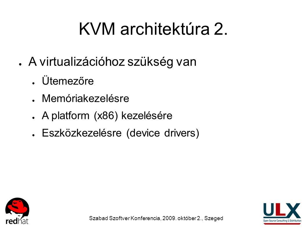 Szabad Szoftver Konferencia, 2009. október 2., Szeged KVM architektúra 2. ● A virtualizációhoz szükség van ● Ütemezőre ● Memóriakezelésre ● A platform