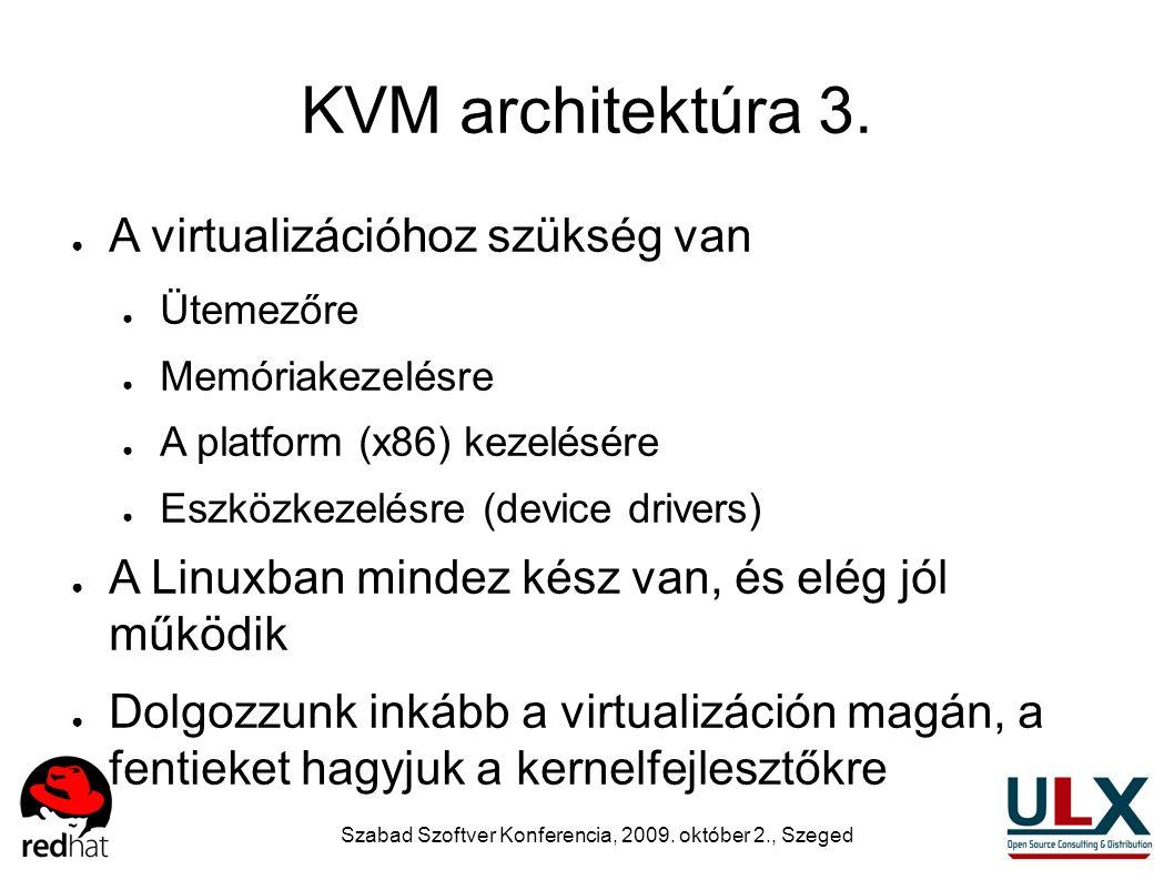 Szabad Szoftver Konferencia, 2009. október 2., Szeged KVM architektúra 3. ● A virtualizációhoz szükség van ● Ütemezőre ● Memóriakezelésre ● A platform