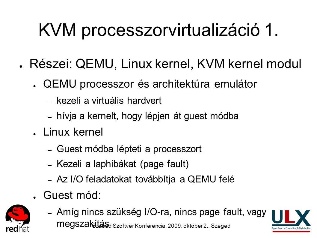 Szabad Szoftver Konferencia, 2009. október 2., Szeged KVM processzorvirtualizáció 1. ● Részei: QEMU, Linux kernel, KVM kernel modul ● QEMU processzor