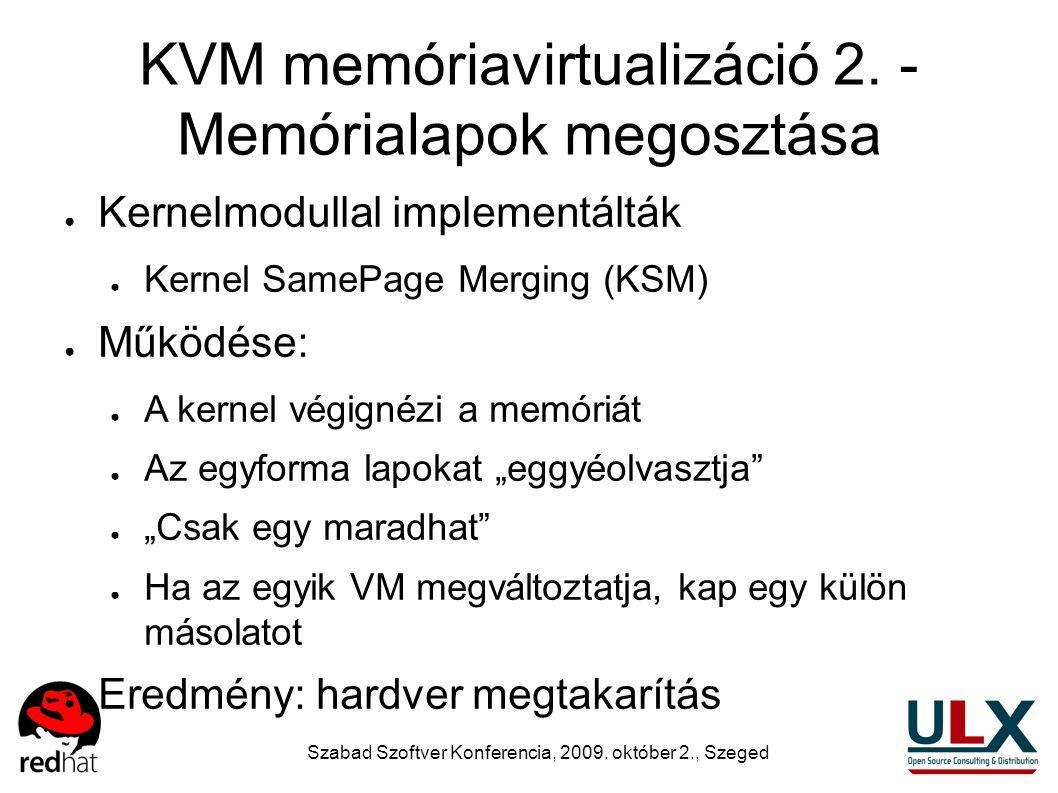 Szabad Szoftver Konferencia, 2009. október 2., Szeged KVM memóriavirtualizáció 2. - Memórialapok megosztása ● Kernelmodullal implementálták ● Kernel S