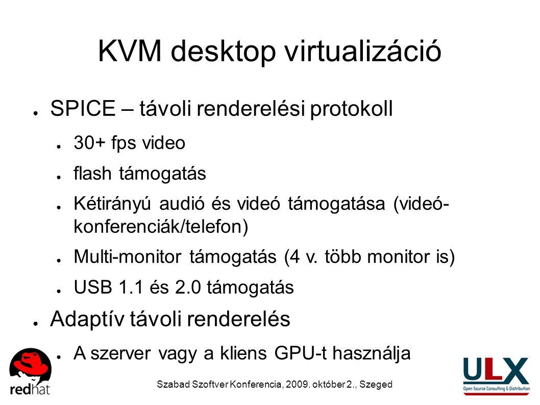 Szabad Szoftver Konferencia, 2009. október 2., Szeged KVM desktop virtualizáció ● SPICE – távoli renderelési protokoll ● 30+ fps video ● flash támogat
