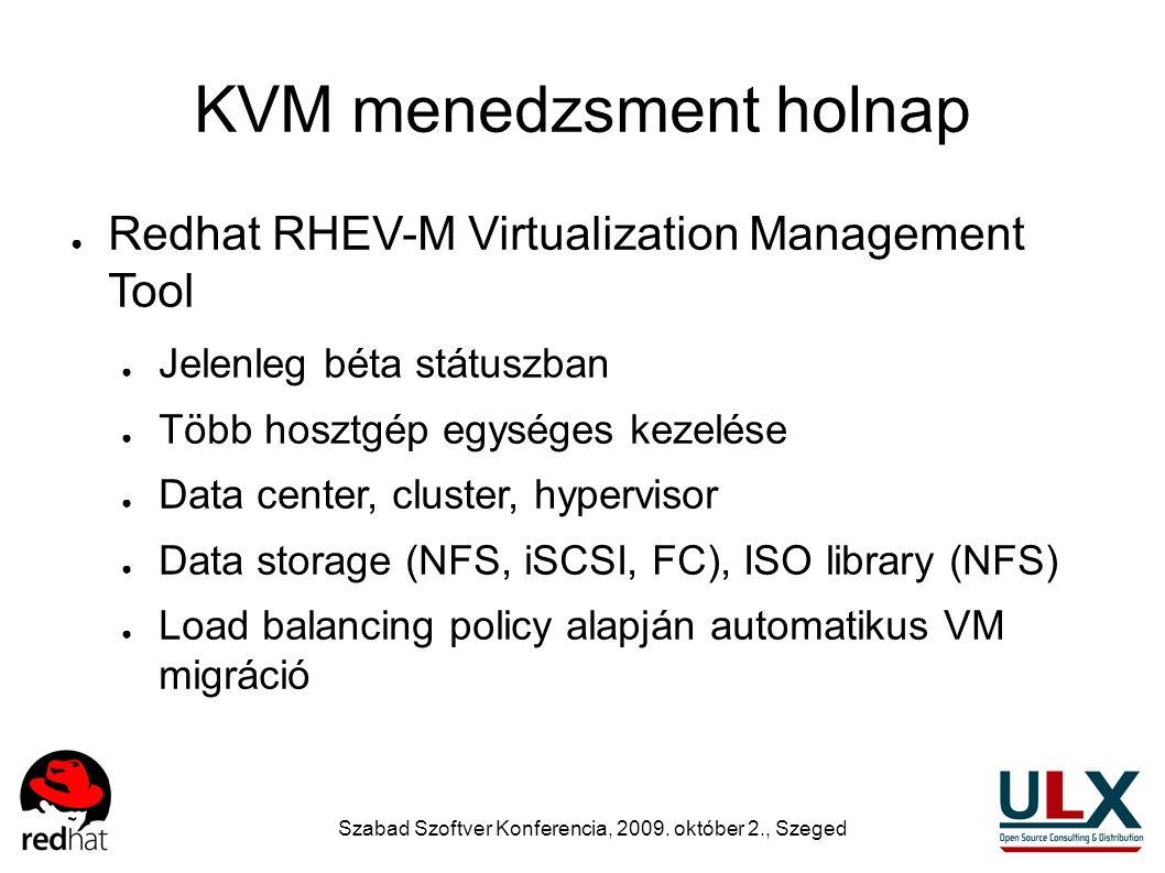 Szabad Szoftver Konferencia, 2009. október 2., Szeged KVM menedzsment holnap ● Redhat RHEV-M Virtualization Management Tool ● Jelenleg béta státuszban