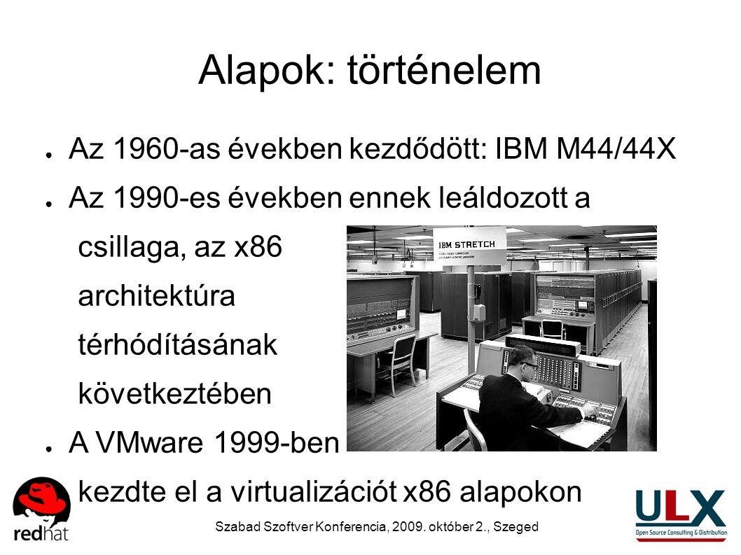 Szabad Szoftver Konferencia, 2009. október 2., Szeged Alapok: történelem ● Az 1960-as években kezdődött: IBM M44/44X ● Az 1990-es években ennek leáldo