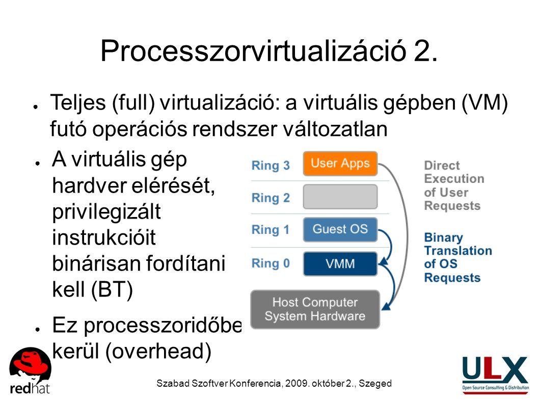 Szabad Szoftver Konferencia, 2009. október 2., Szeged Processzorvirtualizáció 2. ● Teljes (full) virtualizáció: a virtuális gépben (VM) futó operációs
