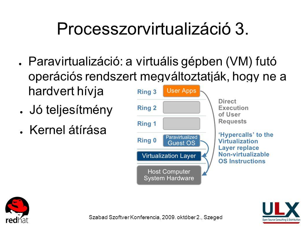 Szabad Szoftver Konferencia, 2009. október 2., Szeged Processzorvirtualizáció 3. ● Paravirtualizáció: a virtuális gépben (VM) futó operációs rendszert