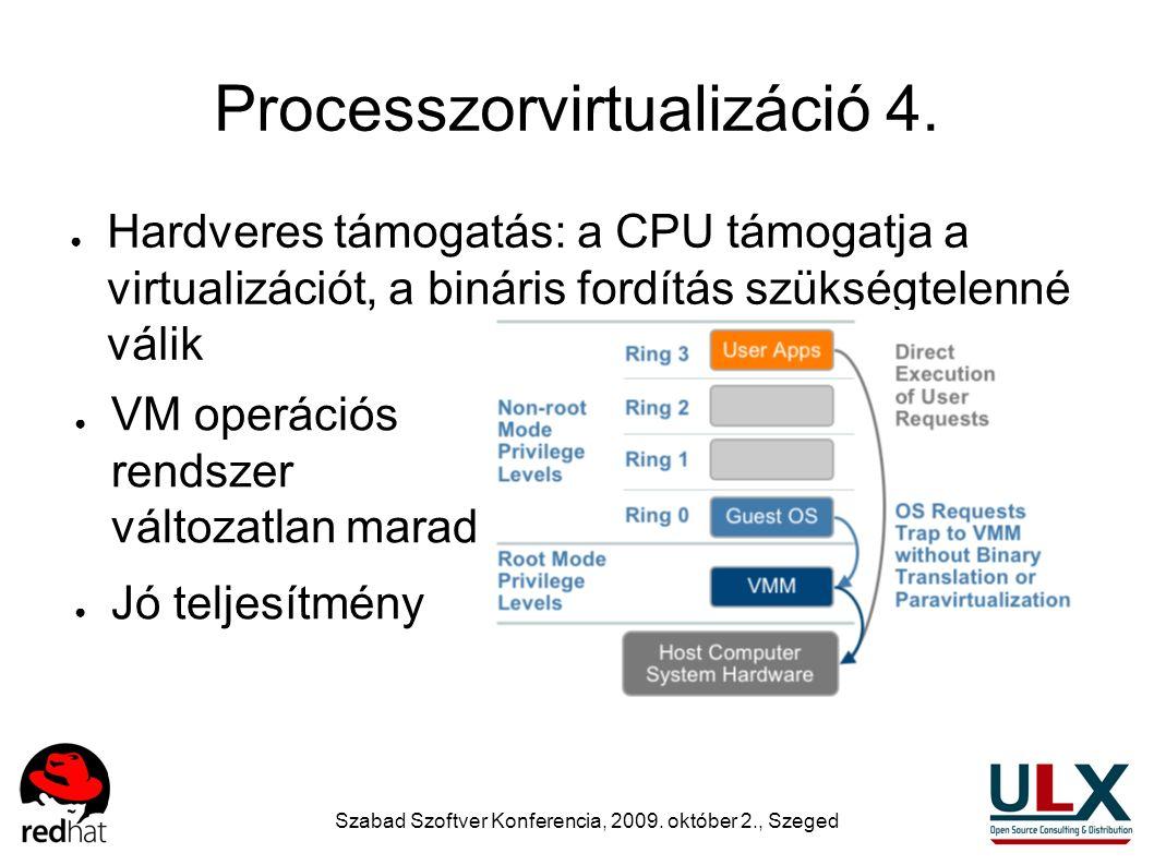 Szabad Szoftver Konferencia, 2009. október 2., Szeged Processzorvirtualizáció 4. ● Hardveres támogatás: a CPU támogatja a virtualizációt, a bináris fo