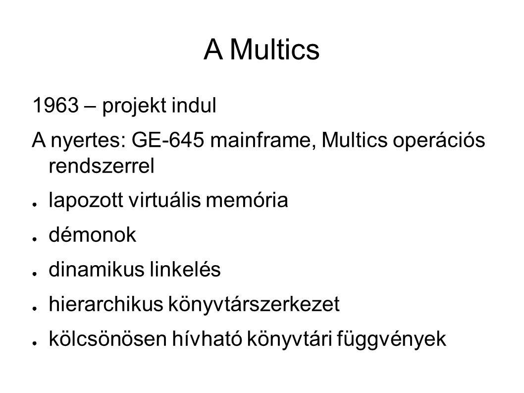 A Multics 1963 – projekt indul A nyertes: GE-645 mainframe, Multics operációs rendszerrel ● lapozott virtuális memória ● démonok ● dinamikus linkelés ● hierarchikus könyvtárszerkezet ● kölcsönösen hívható könyvtári függvények