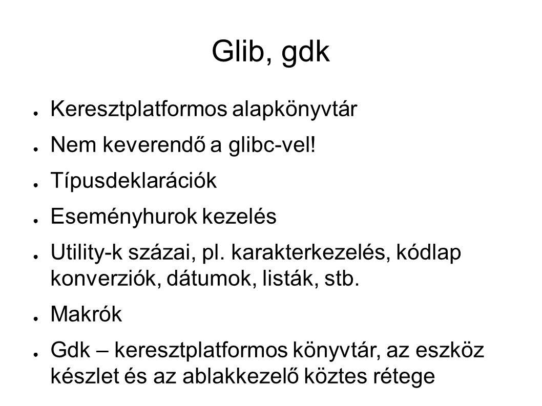 Glib, gdk ● Keresztplatformos alapkönyvtár ● Nem keverendő a glibc-vel.