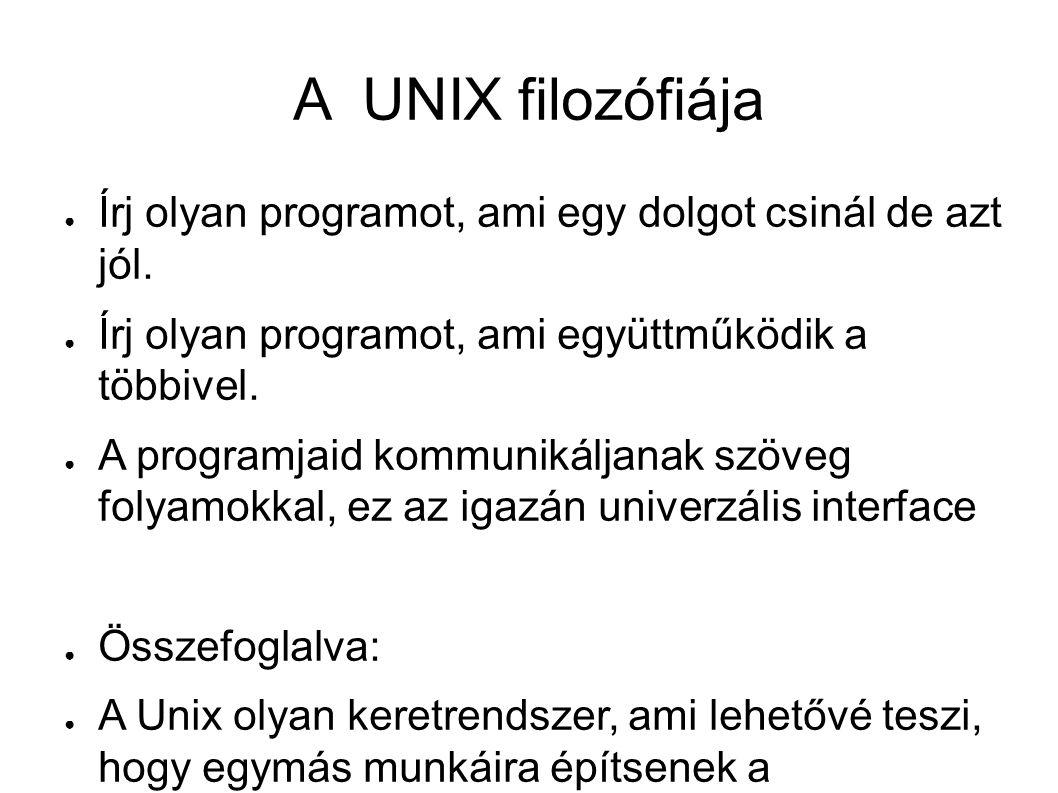 """A legfontosabb események 1969 – kernel, shell, editor, assembler 1971 – az első UNIX manual 1972 – átírják a rendszert C nyelvre 1978 – az első BSD UNIX, az első portolás 1979 – V7, az utolsó """"igazi UNIX; XENIX :-) 1981 - Andy Tanenbaum elkezdi a Minixet 1982 – Stallman – GNU kiáltvány 1989 – a C programozási nyelv ANSI szabvány"""