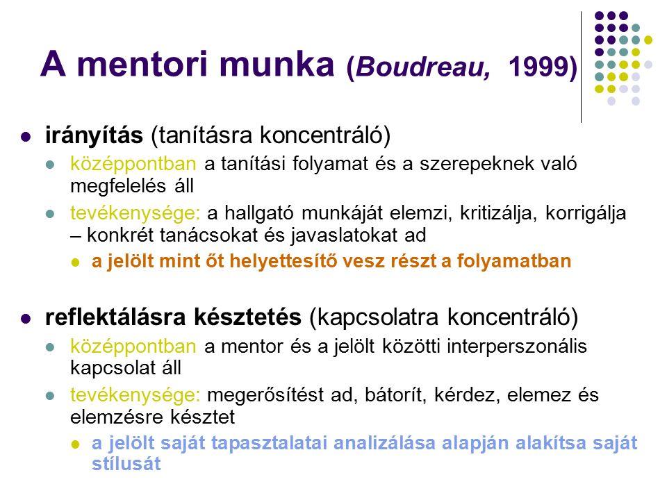 A mentori munka (Boudreau, 1999) irányítás (tanításra koncentráló) középpontban a tanítási folyamat és a szerepeknek való megfelelés áll tevékenysége: a hallgató munkáját elemzi, kritizálja, korrigálja – konkrét tanácsokat és javaslatokat ad a jelölt mint őt helyettesítő vesz részt a folyamatban reflektálásra késztetés (kapcsolatra koncentráló) középpontban a mentor és a jelölt közötti interperszonális kapcsolat áll tevékenysége: megerősítést ad, bátorít, kérdez, elemez és elemzésre késztet a jelölt saját tapasztalatai analizálása alapján alakítsa saját stílusát
