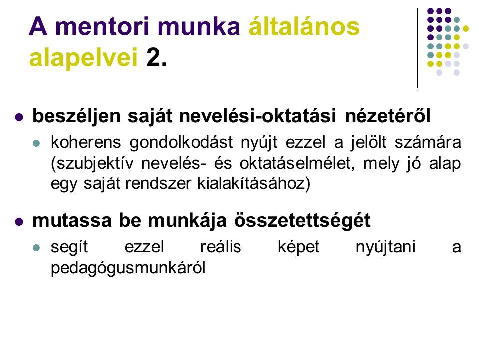 A mentori munka általános alapelvei 2.