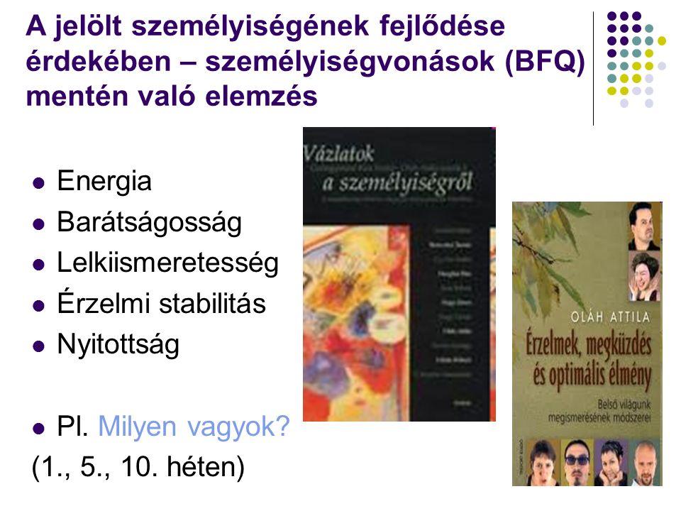 A jelölt személyiségének fejlődése érdekében – személyiségvonások (BFQ) mentén való elemzés Energia Barátságosság Lelkiismeretesség Érzelmi stabilitás Nyitottság Pl.