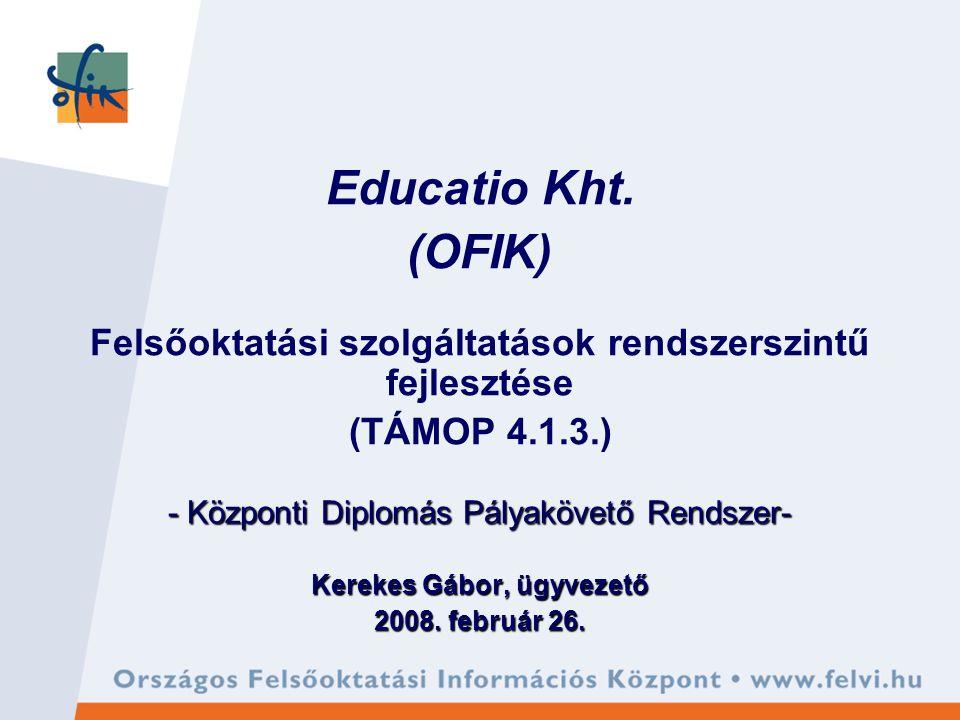 TÁMOP 4.1.3.A felsőoktatási szolgáltatások rendszer szintű fejlesztése 1.Educatio Társ.