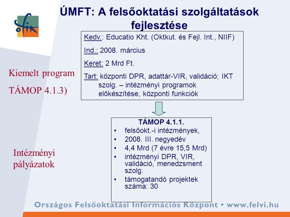ÚMFT: A felsőoktatási szolgáltatások fejlesztése TÁMOP 4.1.1.