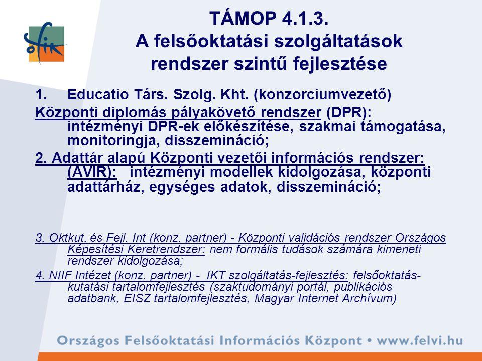 TÁMOP 4.1.3. A felsőoktatási szolgáltatások rendszer szintű fejlesztése 1.Educatio Társ.