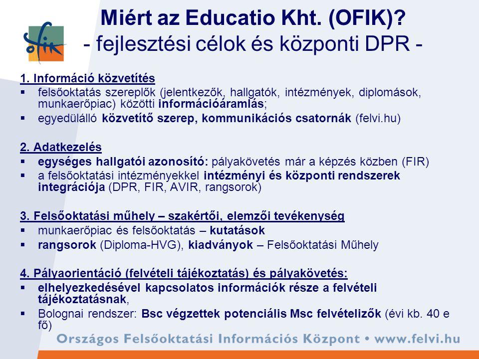 Miért az Educatio Kht. (OFIK). - fejlesztési célok és központi DPR - 1.