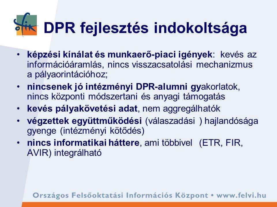 DPR fejlesztés indokoltsága képzési kínálat és munkaerő-piaci igények: kevés az információáramlás, nincs visszacsatolási mechanizmus a pályaorintációhoz; nincsenek jó intézményi DPR-alumni gyakorlatok, nincs központi módszertani és anyagi támogatás kevés pályakövetési adat, nem aggregálhatók végzettek együttműködési (válaszadási ) hajlandósága gyenge (intézményi kötődés) nincs informatikai háttere, ami többivel (ETR, FIR, AVIR) integrálható