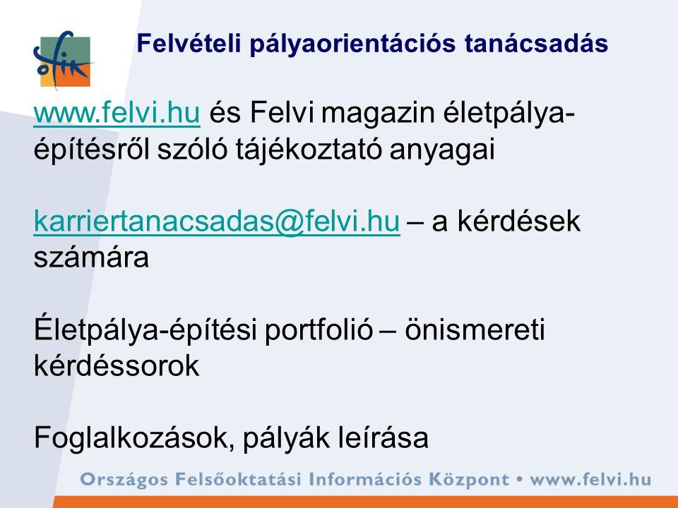 Felvételi pályaorientációs tanácsadás www.felvi.huwww.felvi.hu és Felvi magazin életpálya- építésről szóló tájékoztató anyagai karriertanacsadas@felvi.hukarriertanacsadas@felvi.hu – a kérdések számára Életpálya-építési portfolió – önismereti kérdéssorok Foglalkozások, pályák leírása