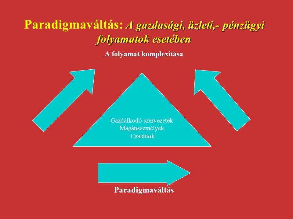 A gazdasági, üzleti,- pénzügyi folyamatok esetében Paradigmaváltás: A gazdasági, üzleti,- pénzügyi folyamatok esetében A folyamat komplexitása Paradig