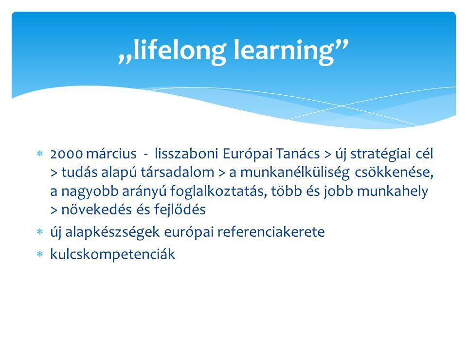 """ 2000 március - lisszaboni Európai Tanács > új stratégiai cél > tudás alapú társadalom > a munkanélküliség csökkenése, a nagyobb arányú foglalkoztatás, több és jobb munkahely > növekedés és fejlődés  új alapkészségek európai referenciakerete  kulcskompetenciák """"lifelong learning"""