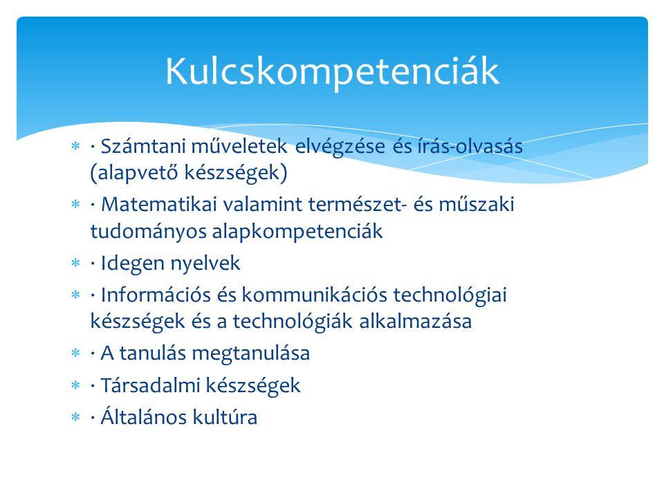  · Számtani műveletek elvégzése és írás-olvasás (alapvető készségek)  · Matematikai valamint természet- és műszaki tudományos alapkompetenciák  · Idegen nyelvek  · Információs és kommunikációs technológiai készségek és a technológiák alkalmazása  · A tanulás megtanulása  · Társadalmi készségek  · Általános kultúra Kulcskompetenciák
