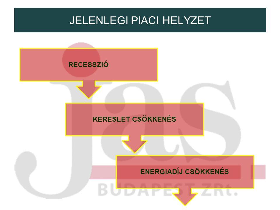 JELENLEGI PIACI HELYZET RECESSZIÓ KERESLET CSÖKKENÉS ENERGIADÍJ CSÖKKENÉS