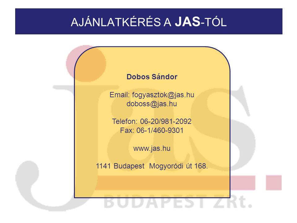 AJÁNLATKÉRÉS A JAS -TÓL Dobos Sándor Email: fogyasztok@jas.hu doboss@jas.hu Telefon: 06-20/981-2092 Fax: 06-1/460-9301 www.jas.hu 1141 Budapest Mogyoródi út 168.