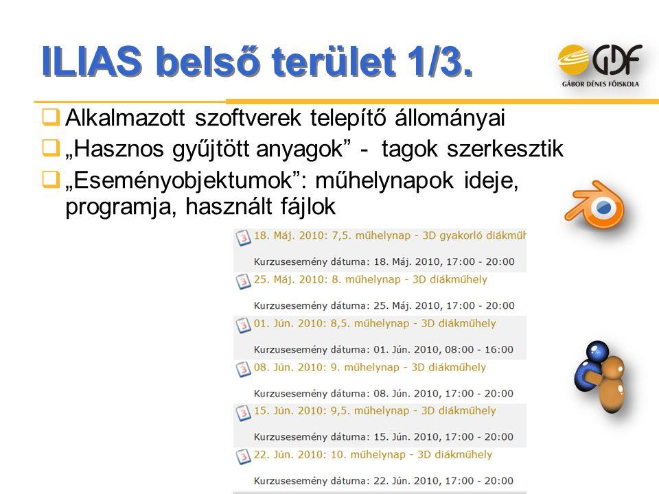 """ILIAS belső terület 1/3.  Alkalmazott szoftverek telepítő állományai  """"Hasznos gyűjtött anyagok"""" - tagok szerkesztik  """"Eseményobjektumok"""": műhelyna"""