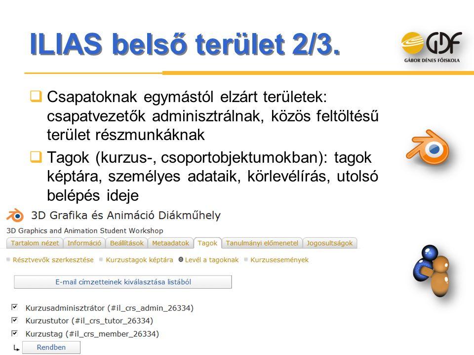 ILIAS belső terület 2/3.  Csapatoknak egymástól elzárt területek: csapatvezetők adminisztrálnak, közös feltöltésű terület részmunkáknak  Tagok (kurz