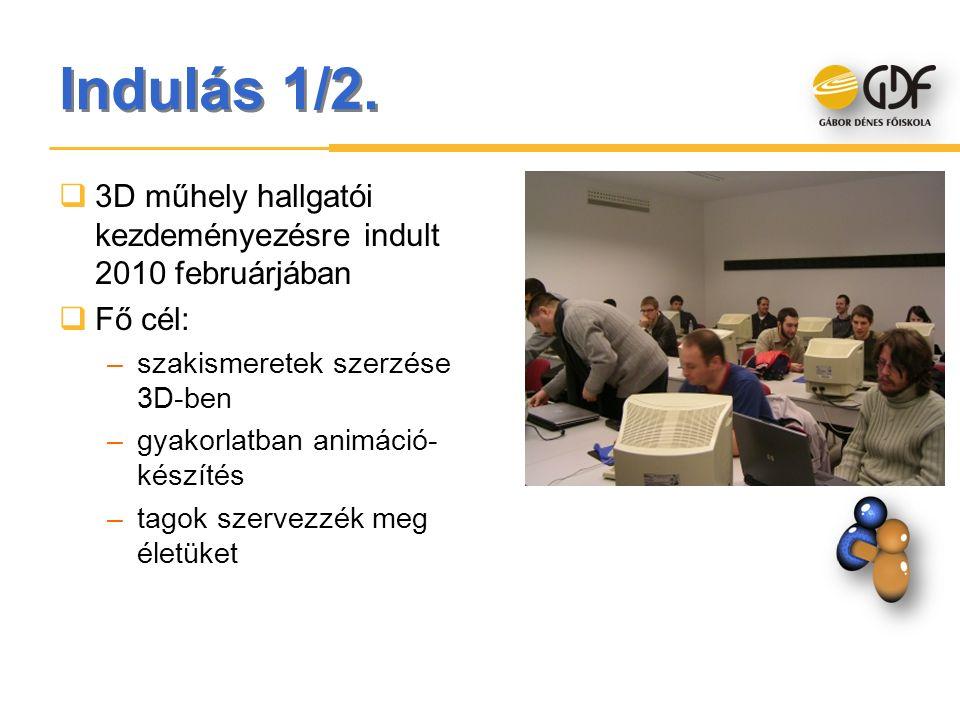 Indulás 1/2.  3D műhely hallgatói kezdeményezésre indult 2010 februárjában  Fő cél: –szakismeretek szerzése 3D-ben –gyakorlatban animáció- készítés