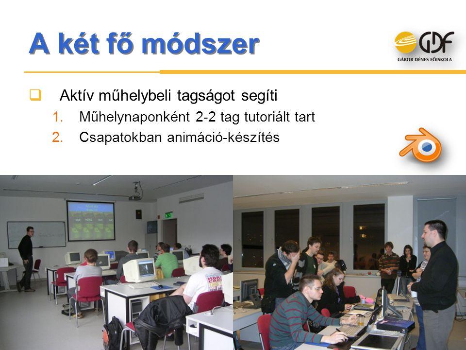 A két fő módszer  Aktív műhelybeli tagságot segíti 1.Műhelynaponként 2-2 tag tutoriált tart 2.Csapatokban animáció-készítés