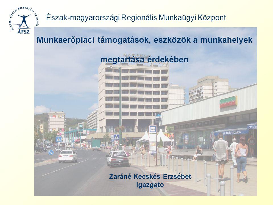Észak-magyarországi Regionális Munkaügyi Központ Munkaerőpiaci támogatások, eszközök a munkahelyek megtartása érdekében Zaráné Kecskés Erzsébet Igazga