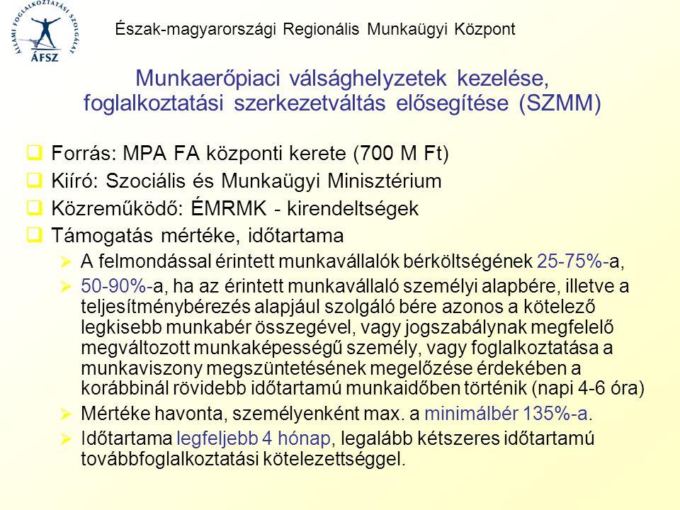 Munkaerőpiaci válsághelyzetek kezelése, foglalkoztatási szerkezetváltás elősegítése (SZMM)  Forrás: MPA FA központi kerete (700 M Ft)  Kiíró: Szociá