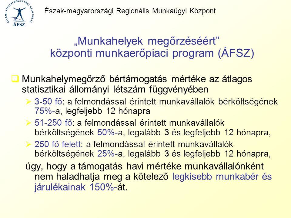 """""""Munkahelyek megőrzéséért"""" központi munkaerőpiaci program (ÁFSZ)  Munkahelymegőrző bértámogatás mértéke az átlagos statisztikai állományi létszám füg"""