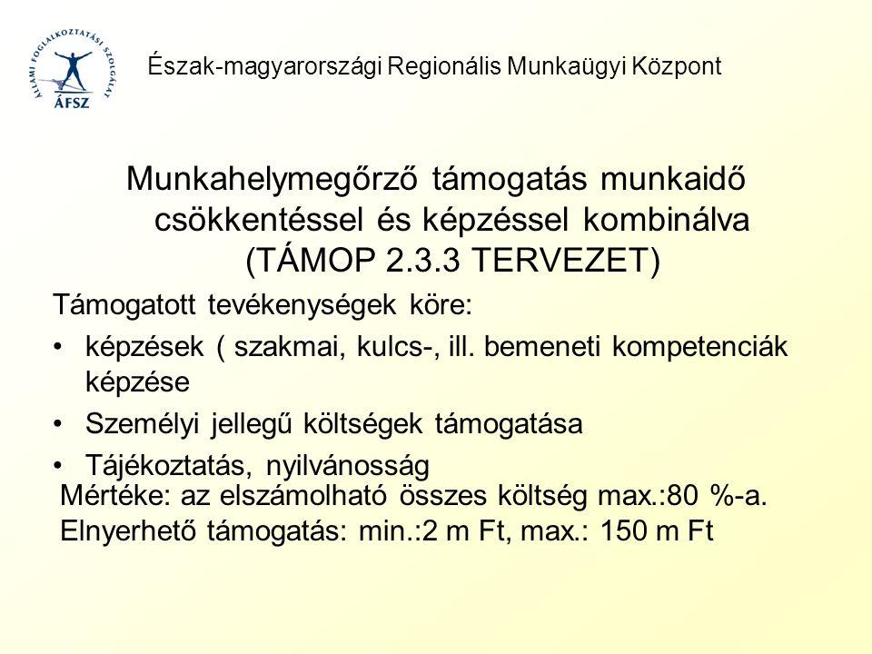 Észak-magyarországi Regionális Munkaügyi Központ Munkahelymegőrző támogatás munkaidő csökkentéssel és képzéssel kombinálva (TÁMOP 2.3.3 TERVEZET) Támo
