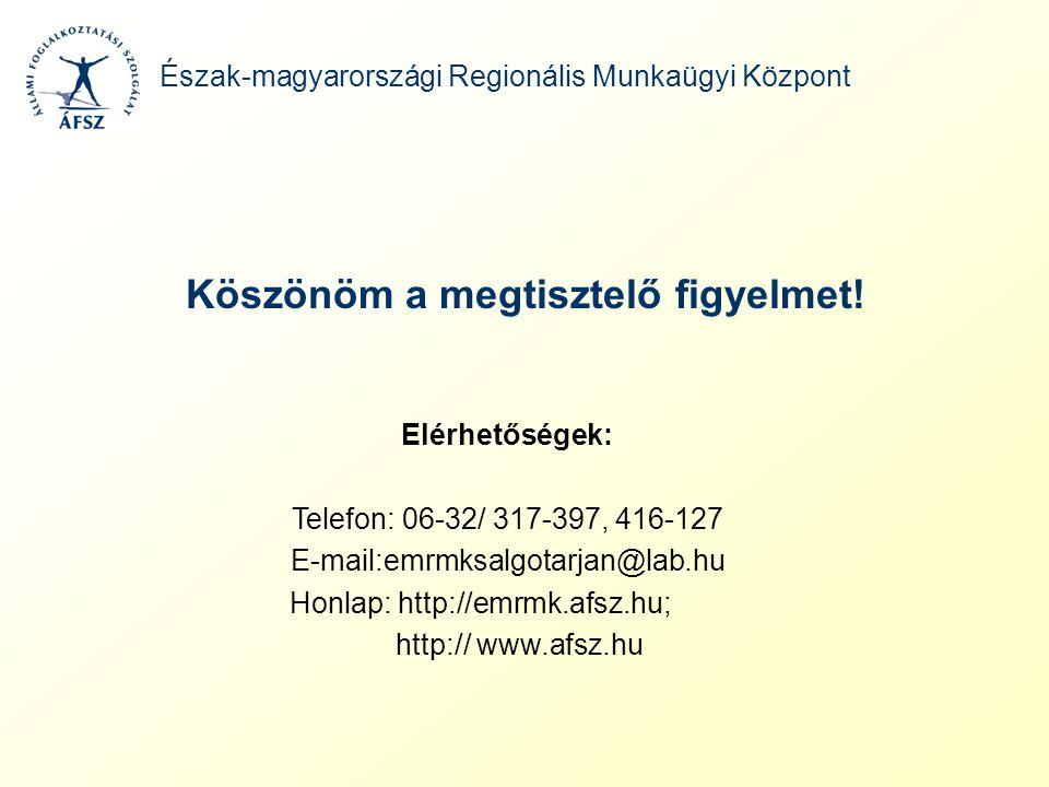 Köszönöm a megtisztelő figyelmet! Észak-magyarországi Regionális Munkaügyi Központ Elérhetőségek: Telefon: 06-32/ 317-397, 416-127 E-mail:emrmksalgota