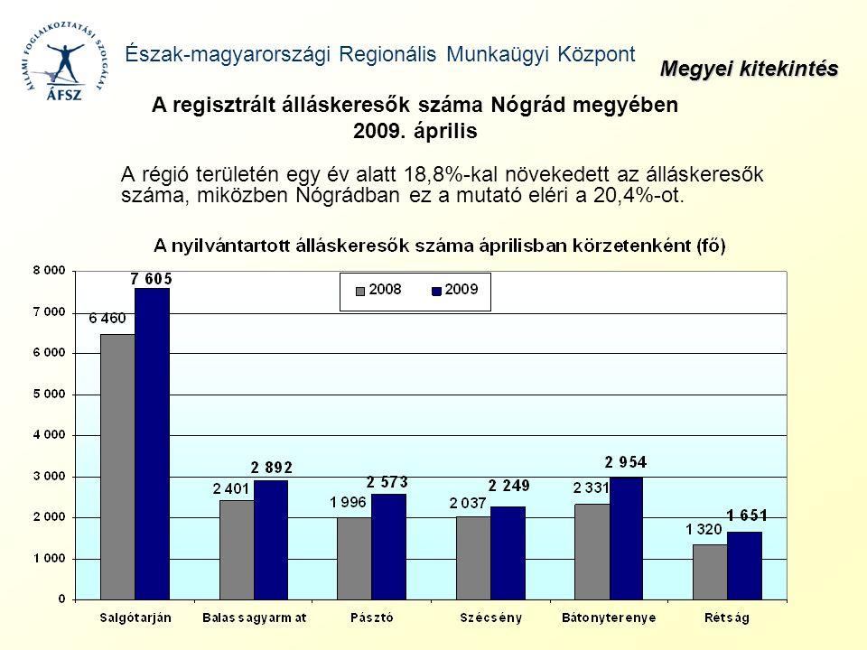 A régió területén egy év alatt 18,8%-kal növekedett az álláskeresők száma, miközben Nógrádban ez a mutató eléri a 20,4%-ot. Észak-magyarországi Region