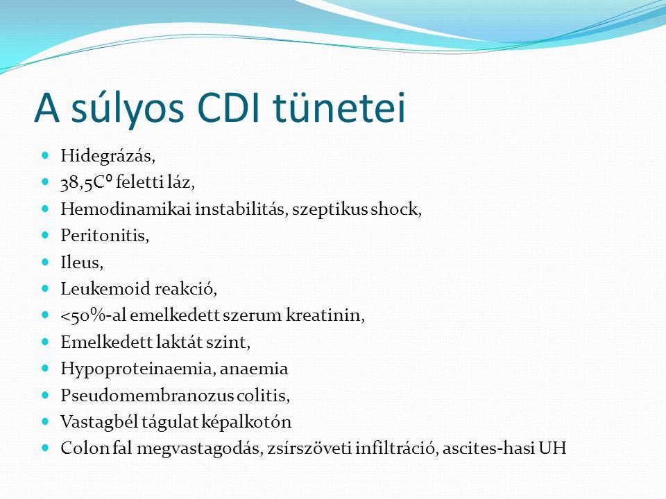 A súlyos CDI tünetei Hidegrázás, 38,5C⁰ feletti láz, Hemodinamikai instabilitás, szeptikus shock, Peritonitis, Ileus, Leukemoid reakció, <50%-al emelk