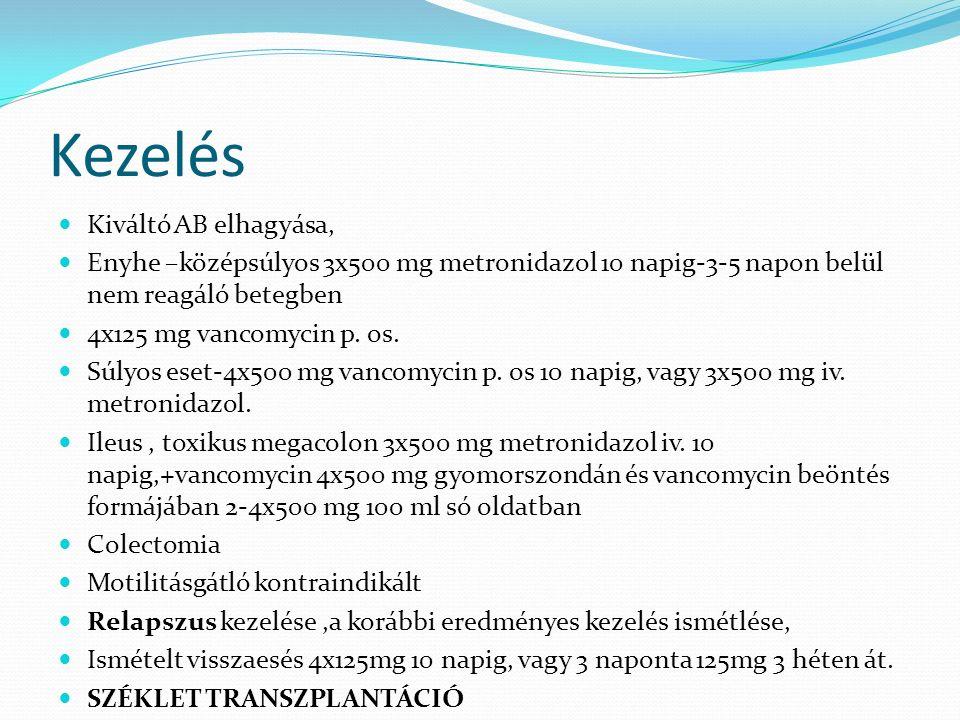 Kezelés Kiváltó AB elhagyása, Enyhe –középsúlyos 3x500 mg metronidazol 10 napig-3-5 napon belül nem reagáló betegben 4x125 mg vancomycin p. os. Súlyos