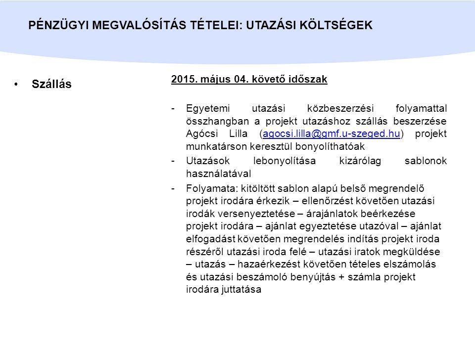Szállás PÉNZÜGYI MEGVALÓSÍTÁS TÉTELEI: UTAZÁSI KÖLTSÉGEK 2015.