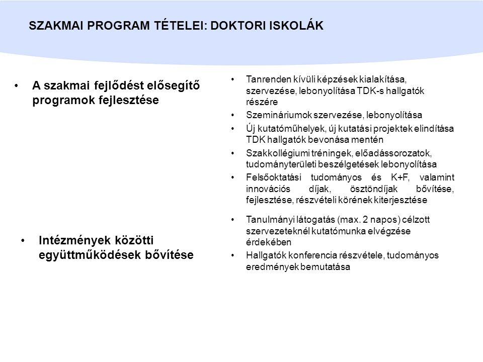 A szakmai fejlődést elősegítő programok fejlesztése SZAKMAI PROGRAM TÉTELEI: DOKTORI ISKOLÁK Tanrenden kívüli képzések kialakítása, szervezése, lebony